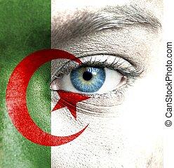 geverfde, vlag, menselijk, algerije, gezicht