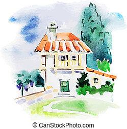 geverfde, watercolor, landscape, wijngaard