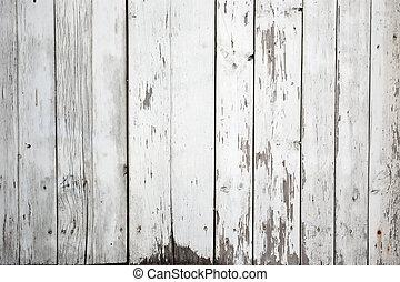 geverfde, witte , hout, achtergrond, verweerd
