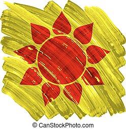 geverfde, zon, abstract, gele, artistiek, achtergrond