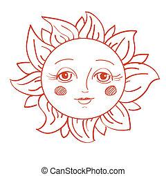 geverfde, zon