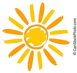 geverfde, zon, illustratie