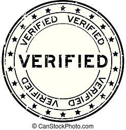 geverifieerde, postzegel, woord, rubber, zwarte achtergrond, zeehondje, grunge, ster, witte , ronde, pictogram