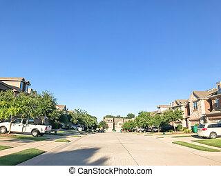 gevestigd, buurt, dallas, voorstedelijk, houess, nieuw, texas