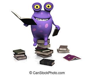 gevlekt, books., stapel, monster, zittende