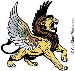 gevleugeld, gebrul, leeuw