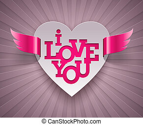 gevleugeld, hart, valentines