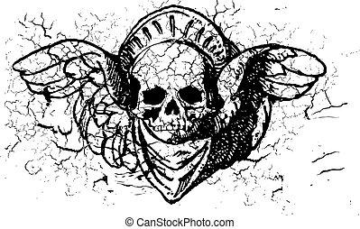gevleugeld, ornament, schedel