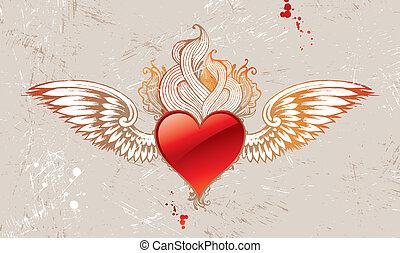 gevleugeld, ouderwetse , vector, hart
