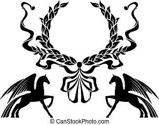 gevleugeld, paarden, krans, laurier