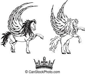 gevleugeld, tatoeëren, paarde, pegasus, set