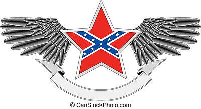 gevleugeld, vlag, confed, ster