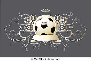 gevleugeld, voetbal, embleem