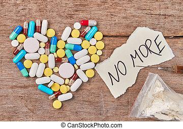 gevormd, boodschap, pillen, narcotics., hart