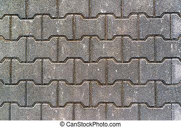 gevormd, h, bovenzijde, beton, bestrating, plakken, aanzicht