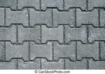 gevormd, h, oppervlakte, beton, bestrating, plakken
