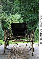 gevormd oud, buggy, op, steen