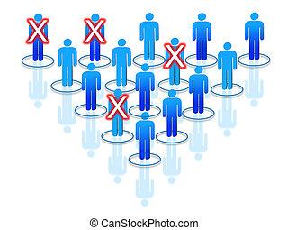gevormd, proces, bedrijf, binnen, het herstructureren, of, silhouettes, menselijk, organisatie, interconnected