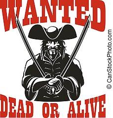gevraagd, levend, zeerover, dood, bounty, belonen, of