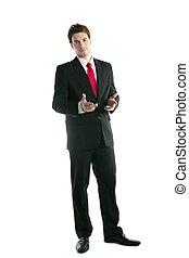 gevulde bloem kostuum, lengte, praatje, handen, zakenman, gebaar