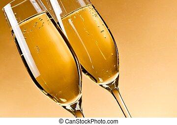 gevulde, bril van de champagne