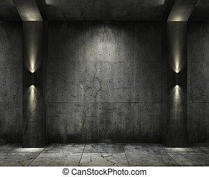 gewölbe, concret, grunge, hintergrund