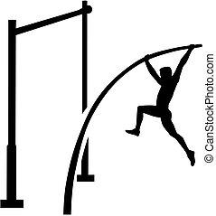gewölbe, stange, athlet