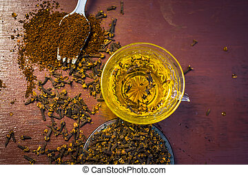 gewürznelke, hölzern, tee, gewürznelke, roh, aromaticum, pulver, surface.