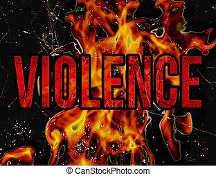 gewalttätigkeit, typographie, grunge, stil, abbildung,...