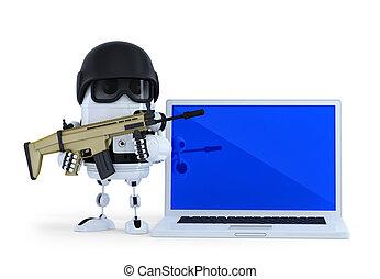 gewapend, robot, met, laptop., techology, veiligheid, concept., vrijstaand, op wit, achtergrond., bevat, knippend pad