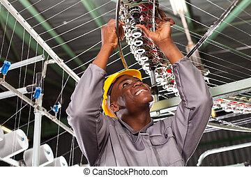 gewebe, amerikanische , industrie, mechaniker, afrikanisch