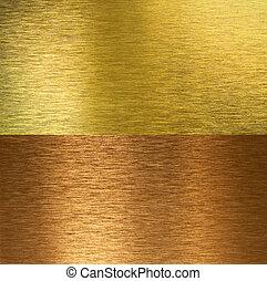 gewebe, genäht, messing, gebürstet, bronze