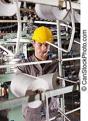 gewebe, industrieller arbeiter, fabrik, arbeitende