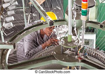 gewebe, techniker, amerikanische , fabrik, afrikanisch