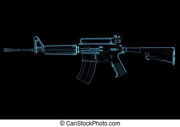 geweer, (3d, xray, blauwe , transparent)