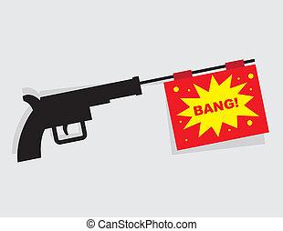 geweer, boodschap, klap