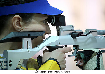 geweer, vrouw, pneumatisch, mikkend, lucht