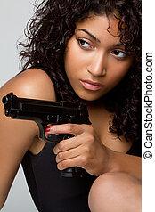geweer, vrouw