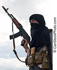 gewehr, ak, moslem, angriff, auflehnen
