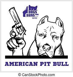 gewehr, revolver, kopf, haussespekulanthund, gangster., ...