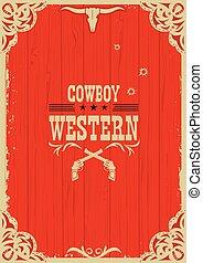 gewehre, rotes , westlich, hintergrund, cowboy