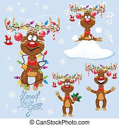 geweih, lustiges, verschieden, satz, -, rehe, weihnachten,...