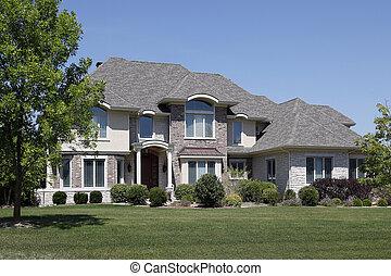 gewelfd, dak, ceder, thuis, ingang, baksteen