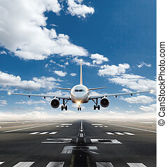 gewerblich, düsenverkehrsflugzeug, nehmen, von, startbahn