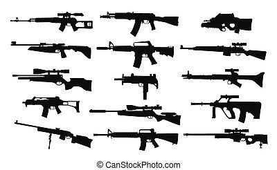 geweren, set, weapons.