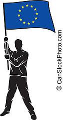 gewerkschaft, flag-eu, mann, besitz, europäische