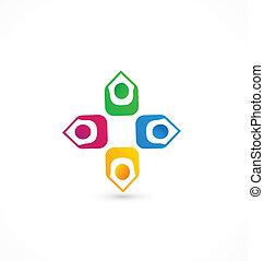 gewerkschaft, logo, gemeinschaftsarbeit, leute