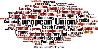 gewerkschaft, wort, wolke, europäische