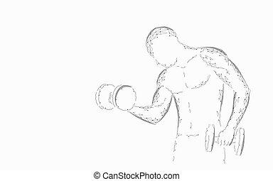 gewicht, athletische, abstrakt, sportler, sport, bodybuilding, hantel, stärke, concept., form., polygonal, niedrig, 3d, koerper, workout, abbildung, poly, starke , training, arm., vektor, fitness, mann, powerlifting
