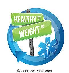 gewicht, gezonde , symbool, illustratie, ontwerp, straat